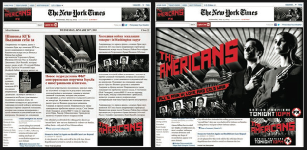 "A period New York Times front page in Russian links to ""The Americans"" Facebook page."